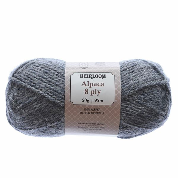 Heirloom Alpaca 8ply Grey Blue Heather 935