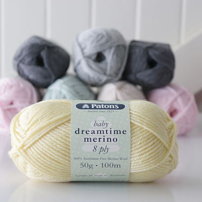 Wonderfully soft, perfect for baby and toddler knits, Patons Dreamtime Merino 8ply