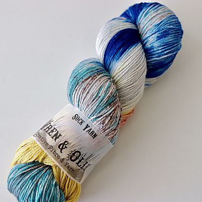 Wren and Ollie Sock Yarn 100gm - Coral Cove