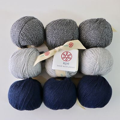 KPC Yarn Market Bag Kit Gossyp 8ply/DK 9 ball kit - Colours Black Ice, Lunar and Midnight