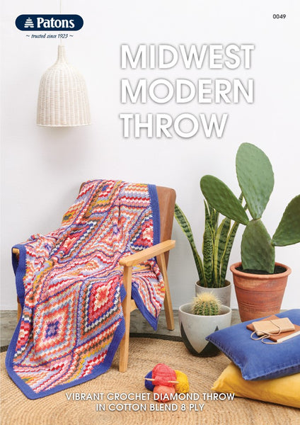 Midwest Modern Throw - Patons Cotton Blend 8ply