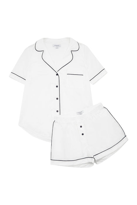 Cotton Contrast Bind Short Sleeve Shorts Pajama Set