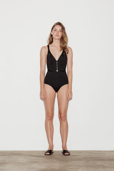 Noir Crossed Swimsuit