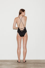 Noir Laced Back Swimsuit