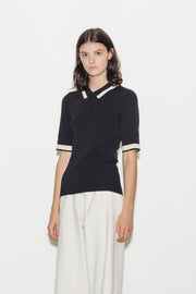 Sandy Viscose Blend Knit Polo Top