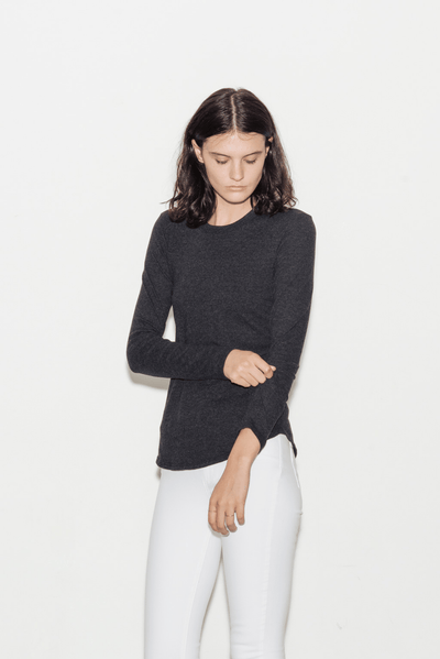 Brushed Jersey Long Sleeve Crew T-Shirt - BASICS DEPARTMENT