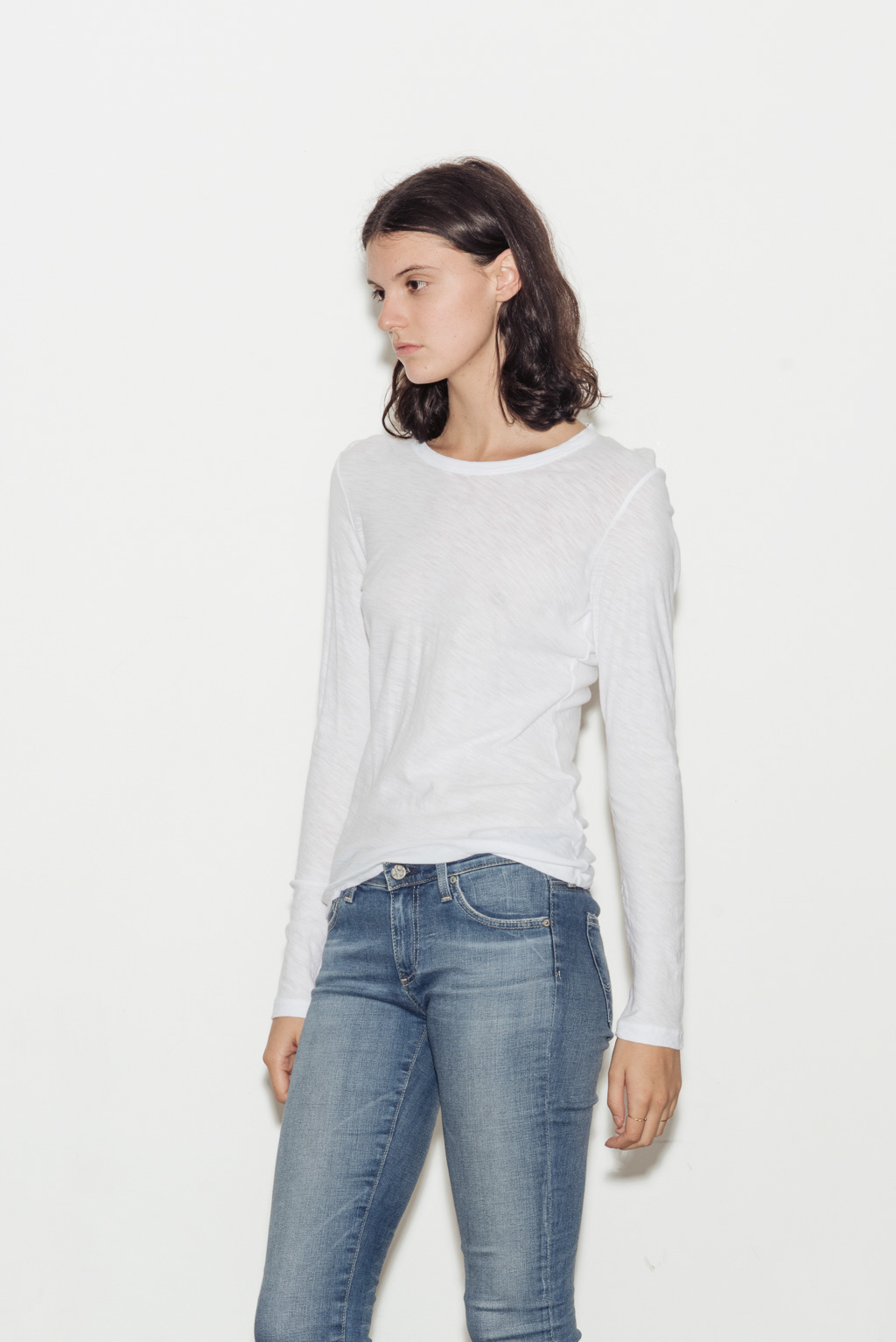 Sheer Slub Long Sleeve Cotton Crew Neck T-Shirt