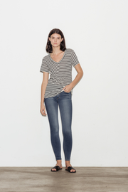 Kiara Cotton and Cashmere Blend Striped V-Neck T-Shirt