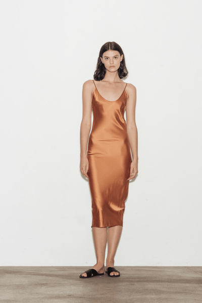 EXCLUSIVE Calla Silk Slip Dress - BASICS DEPARTMENT