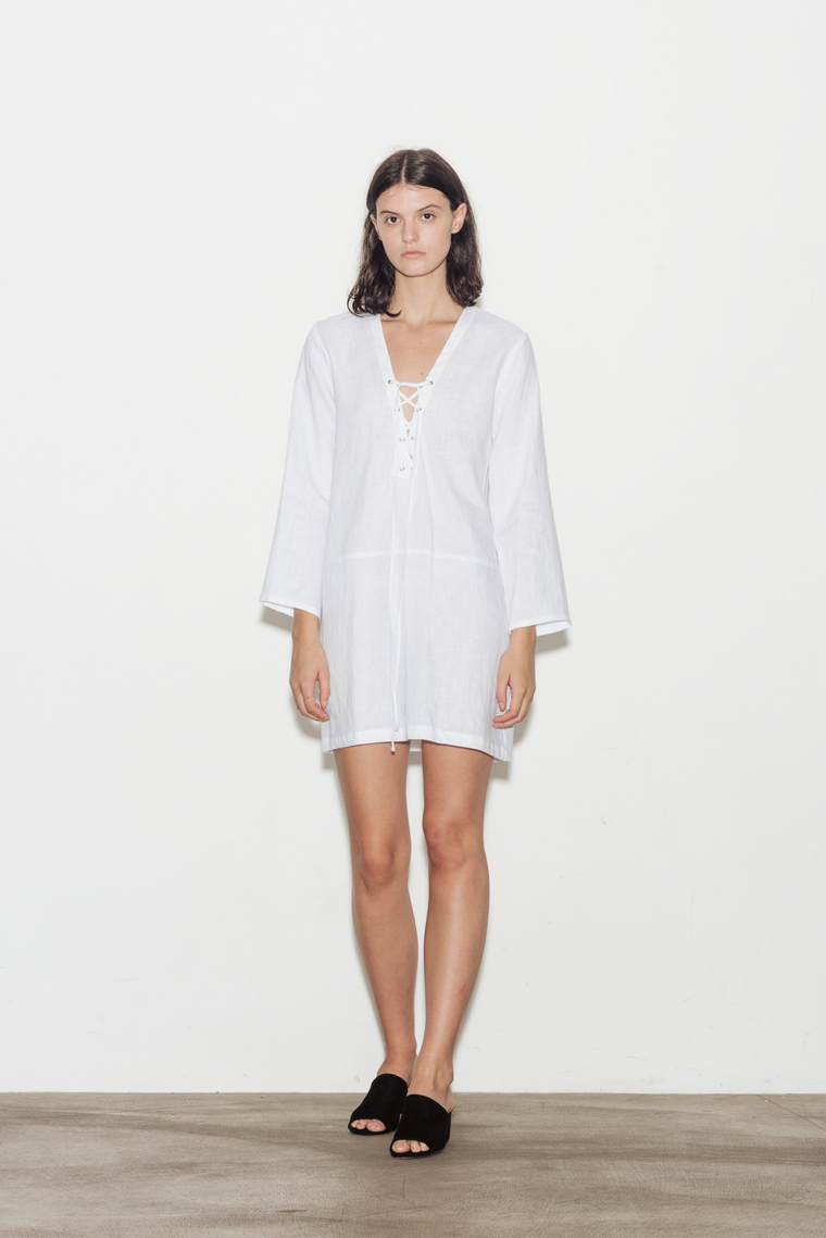 Lace Up Linen Dress