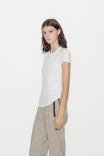 Sheer Slub Cotton Crew Neck T-Shirt