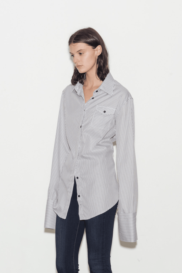 Accent Cotton Twill Stripe Shirt with Detachable Cuffs - BASICS DEPARTMENT