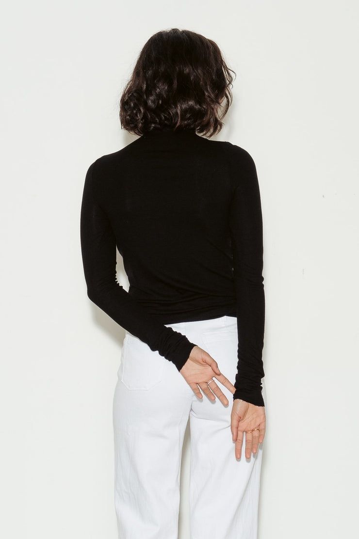 Chels Cotton Rib Turtleneck Top