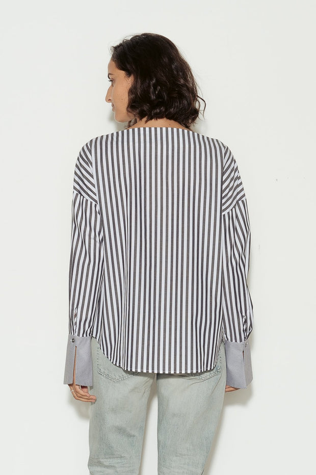 Famke Striped Cotton Boatneck Shirt - BASICS DEPARTMENT