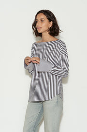 Famke Striped Cotton Boatneck Shirt