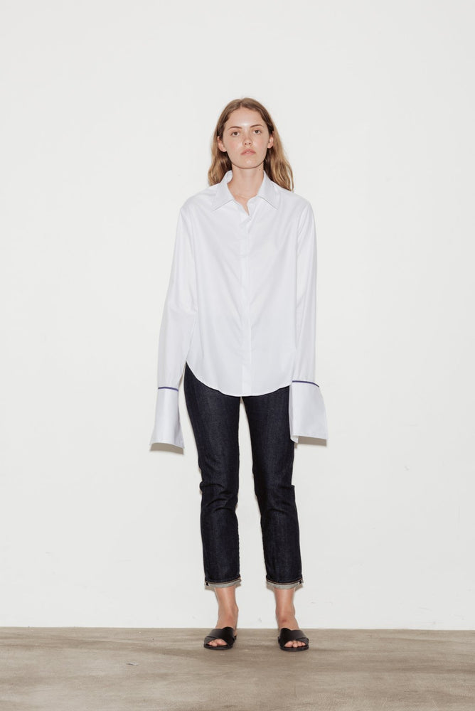 Anne Cotton Twill Shirt with Blue Silk Trim