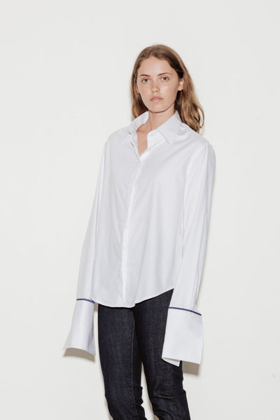 Anne Cotton Twill Shirt with Blue Silk Trim - BASICS DEPARTMENT