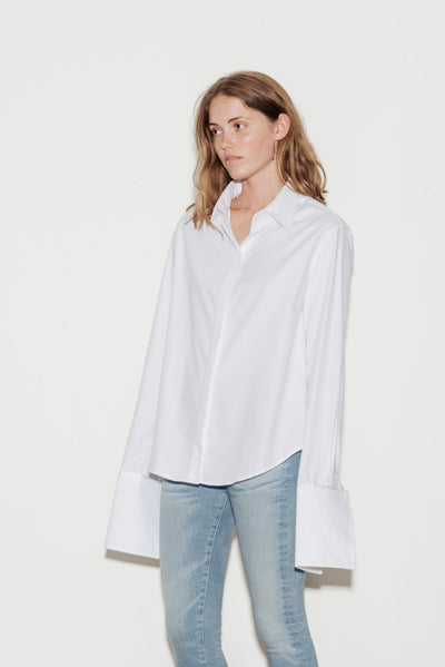 Anne Cotton Twill Shirt with White Silk Trim