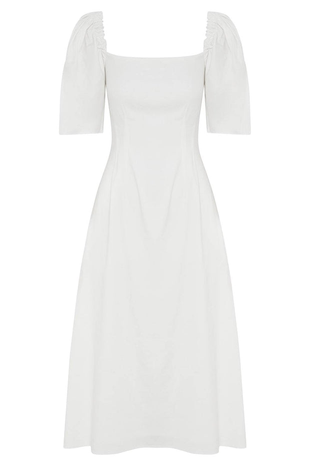 Aura Linen Blend Midi Dress - BASICS DEPARTMENT