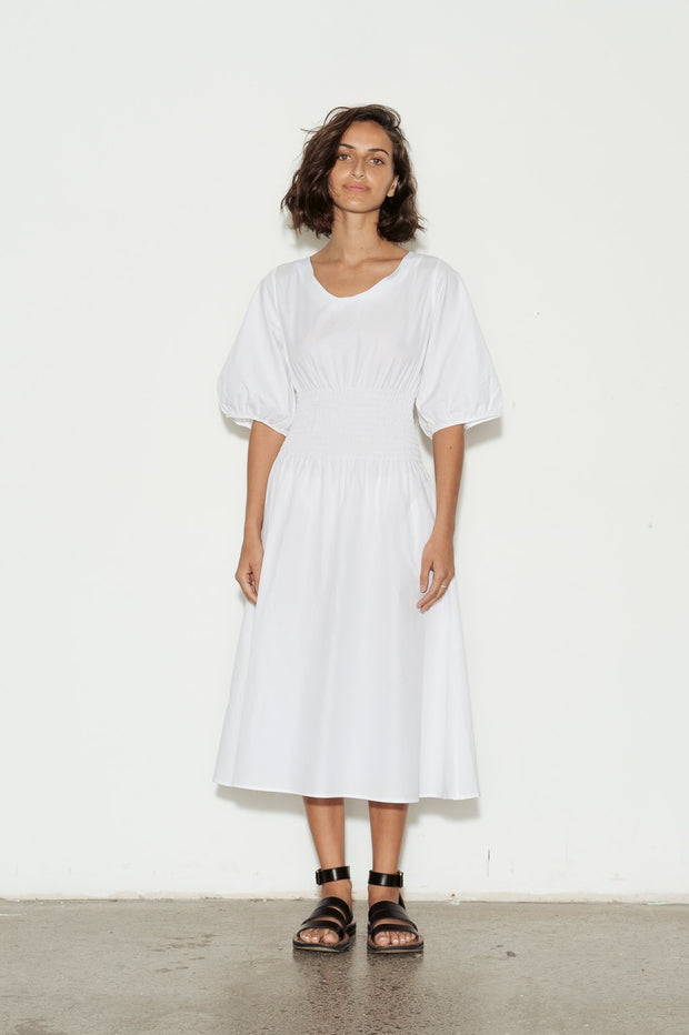 Aurore Shirred Cotton Dress - BASICS DEPARTMENT
