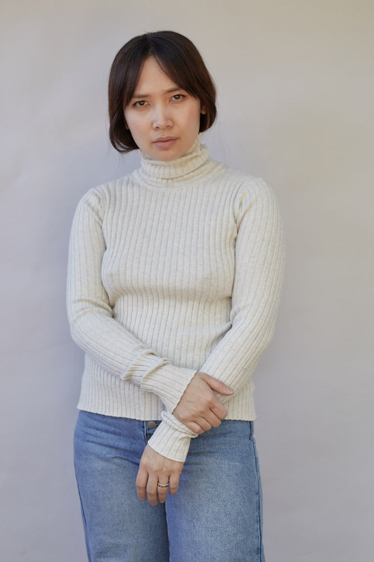 Heather Cotton Rib Knit Turtleneck Top