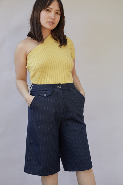 Rae Pinstripe Long Shorts