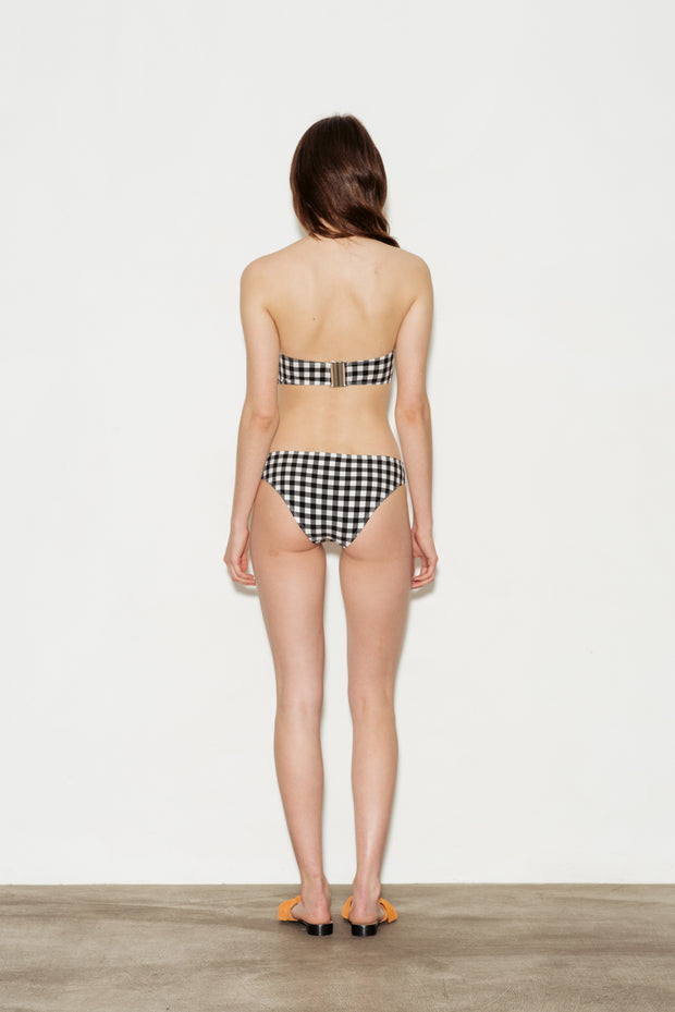 Gingham Tie Front Bandeau Bikini Top