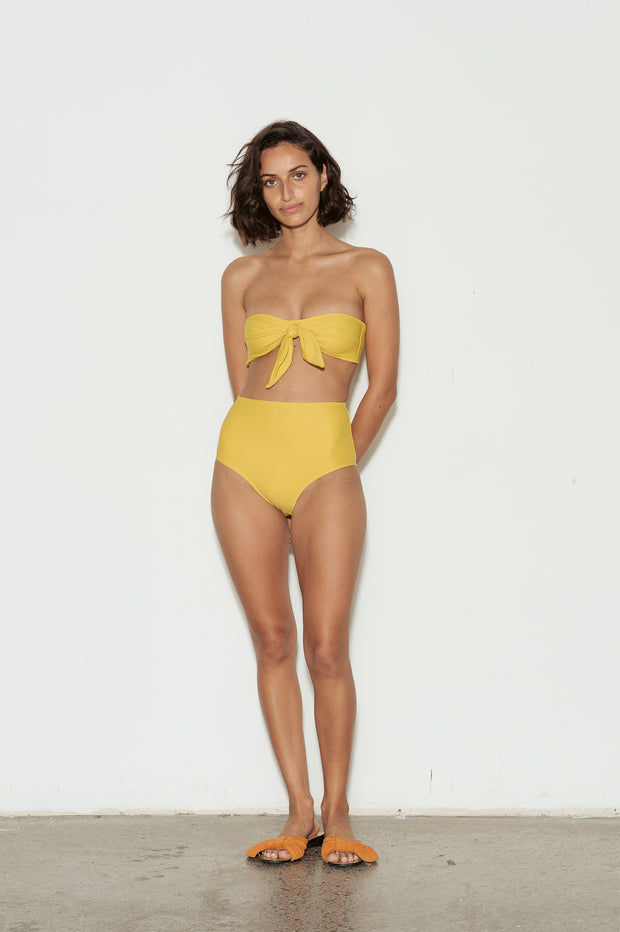 Mustard High Waisted Bikini Briefs