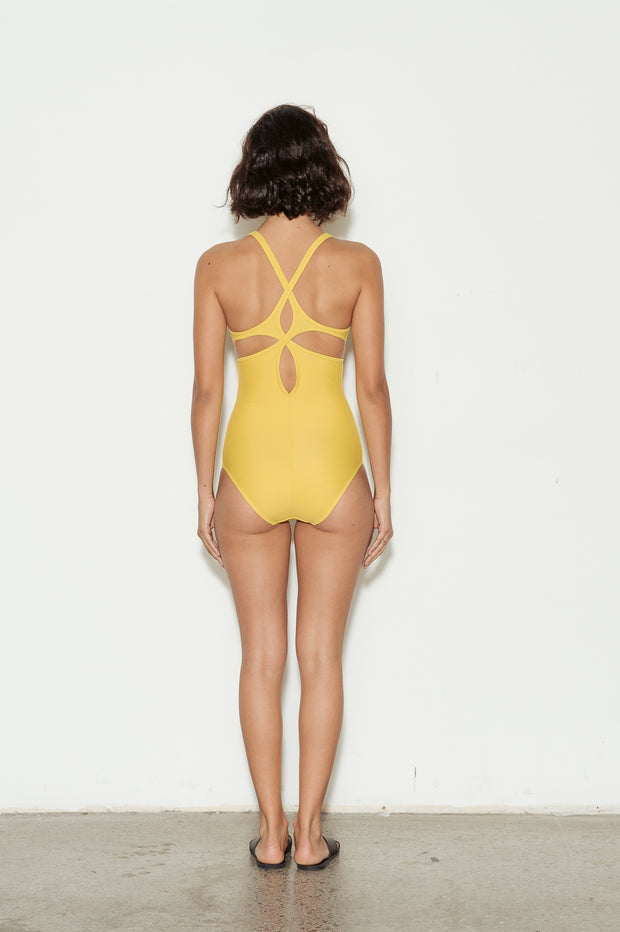 Mustard Twist Back Swimsuit
