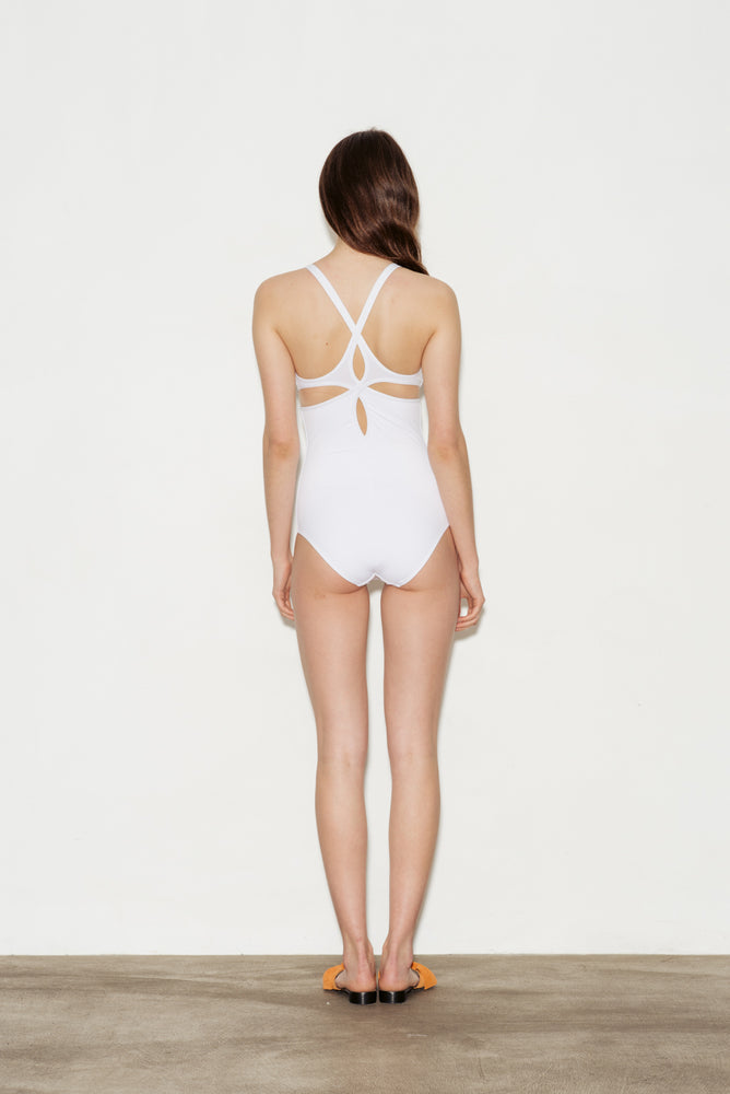 Optical White Twist Back Swimsuit