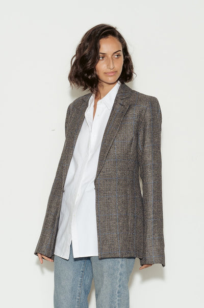 GA Check Linen Blazer - BASICS DEPARTMENT