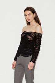 Girlsss Off The Shoulder Ruched Silk Top