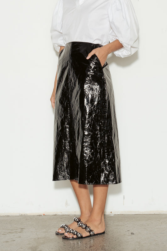 Naughty Faux Patent Leather Skirt