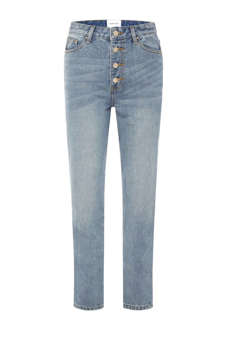 Olympia High Rise Straight Leg Jeans
