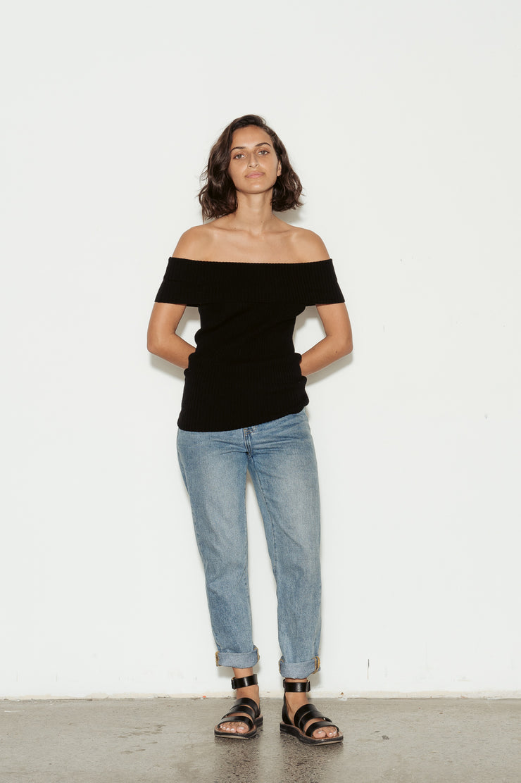 Otto Off The Shoulder Ribbed Knit Top