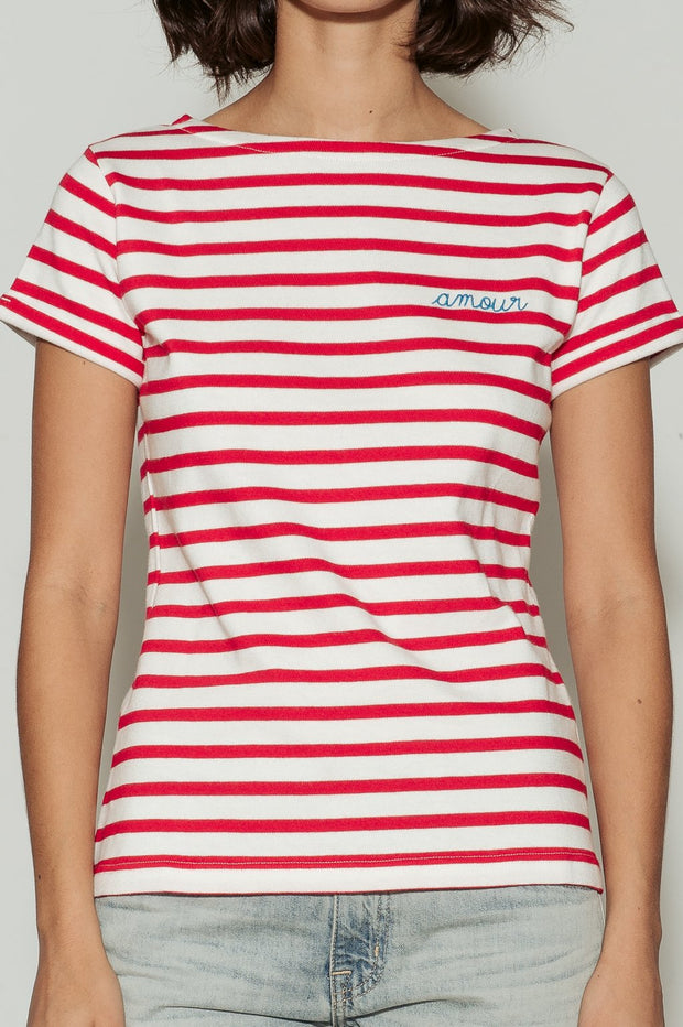 Amour Breton Striped Boat Neck Cotton T-Shirt