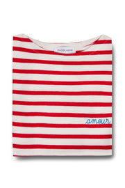 Amour Breton Striped Boat Neck Cotton T-Shirt - BASICS DEPARTMENT