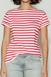 Cherie Breton Striped Boat Neck Cotton T-Shirt - BASICS DEPARTMENT