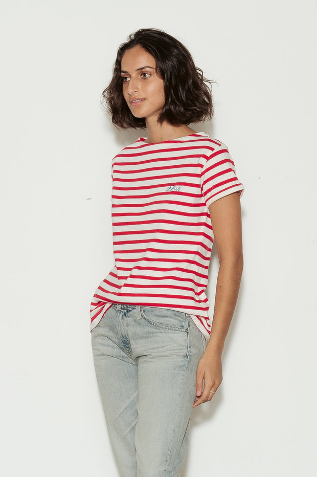 Cherie Breton Striped Boat Neck Cotton T-Shirt