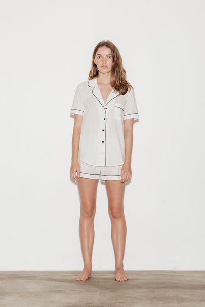 Cotton Contrast Bind Short Sleeve Shorts Pyjama Set - BASICS DEPARTMENT