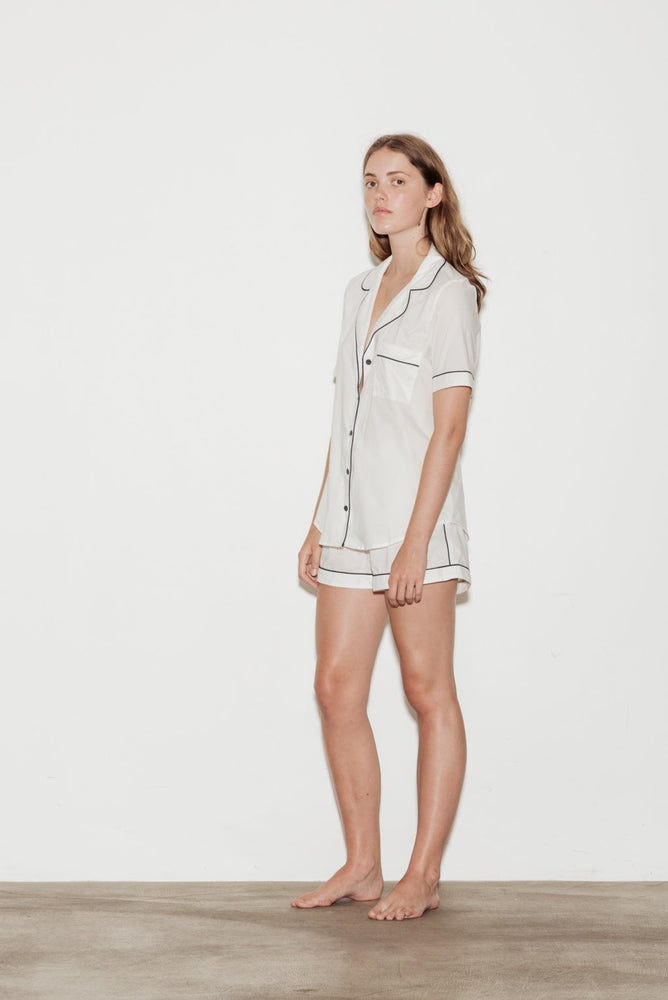 Cotton Contrast Bind Short Sleeve Shorts Pyjama Set