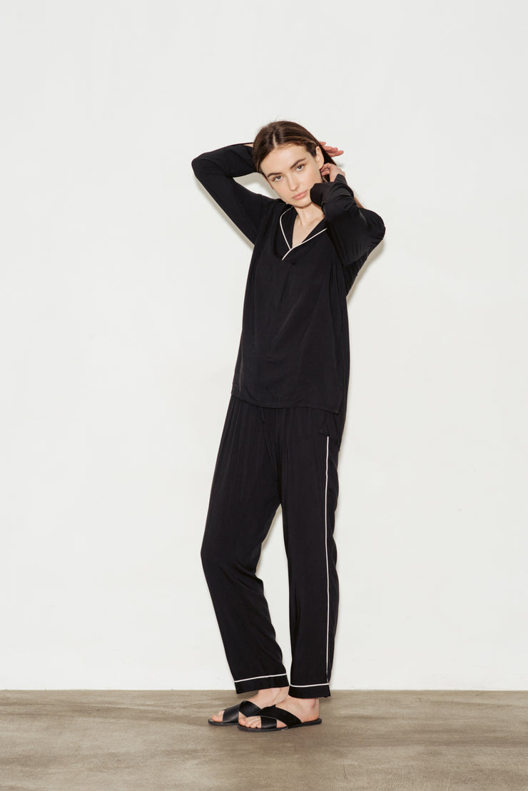 Viscose Contrast Bind Long Pyjama Set