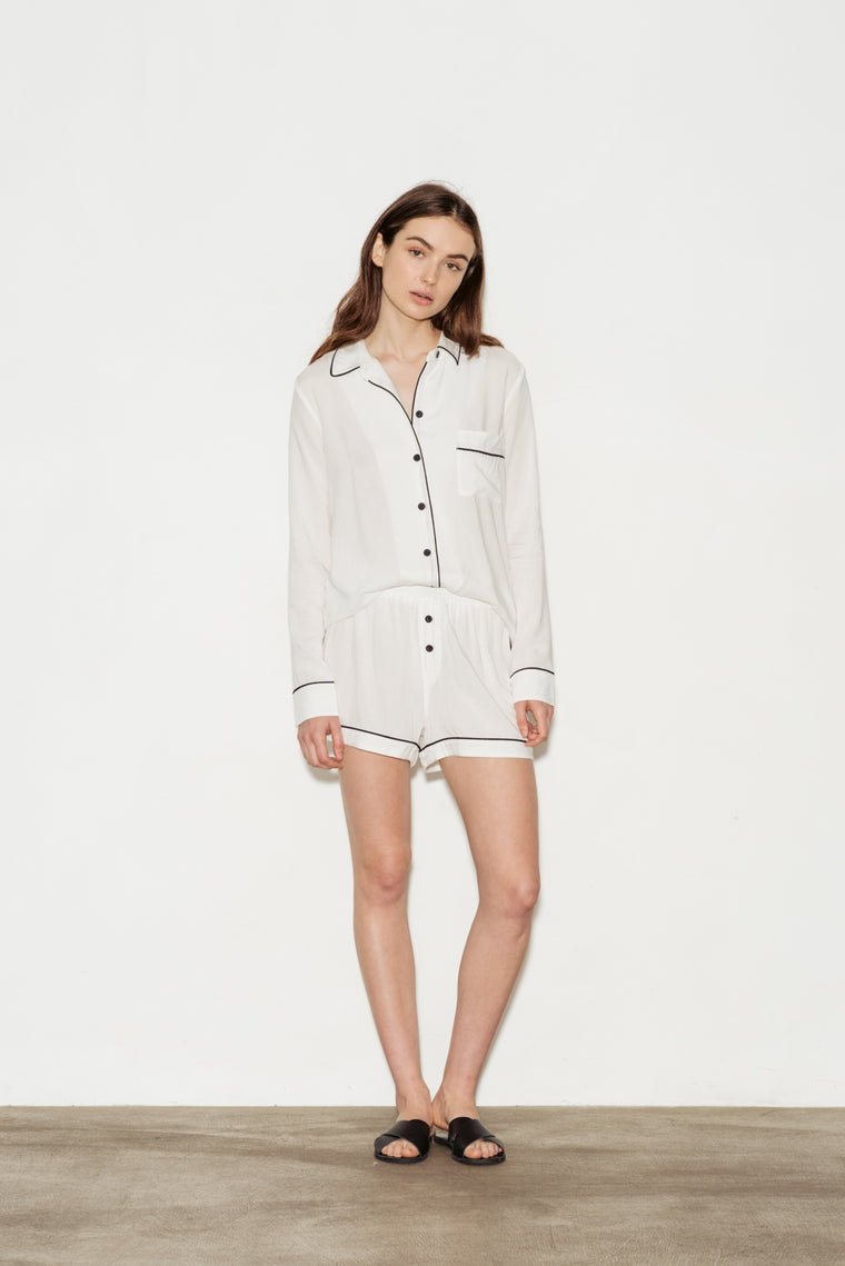 Viscose Contrast Bind Long Sleeve Shorts Pajama Set