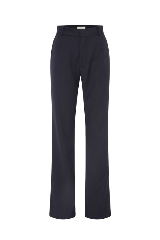 Pinstripe Wool Straight Leg Suit Pants