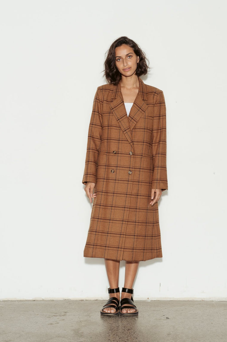 Double Breasted Cotton Check Coat