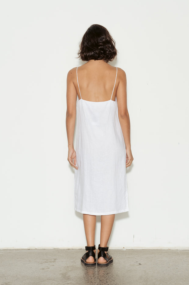 Square Neck Linen Dress