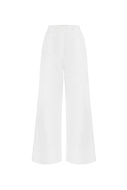 Summer Cropped Cotton and Linen Blend Trousers