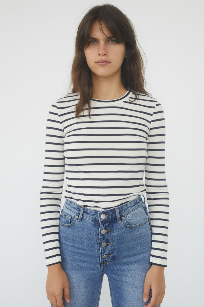 Long Sleeve Cotton Jersey Striped Top