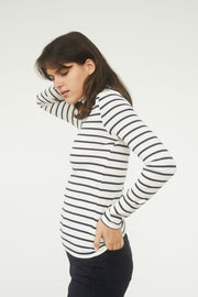 Striped Cotton Jersey Turtleneck Top