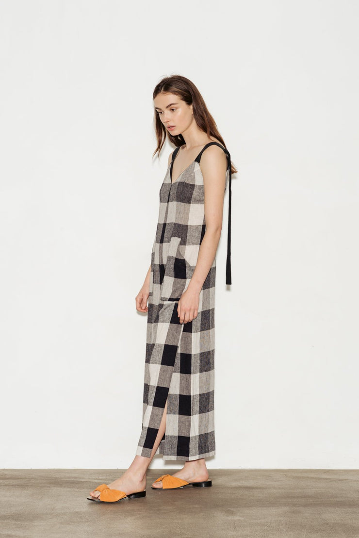 Adjustable Linen Blend Jumpsuit